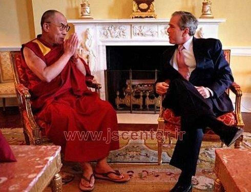 دالایی لاما و جرج بوش