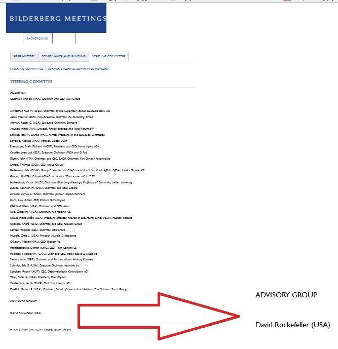 کمیته رهبران بیلدربرگ و دیوید راکفلر