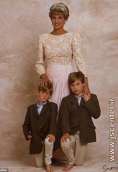 پرنسس دایانا به همراه دو پسرش ویلیام و هری