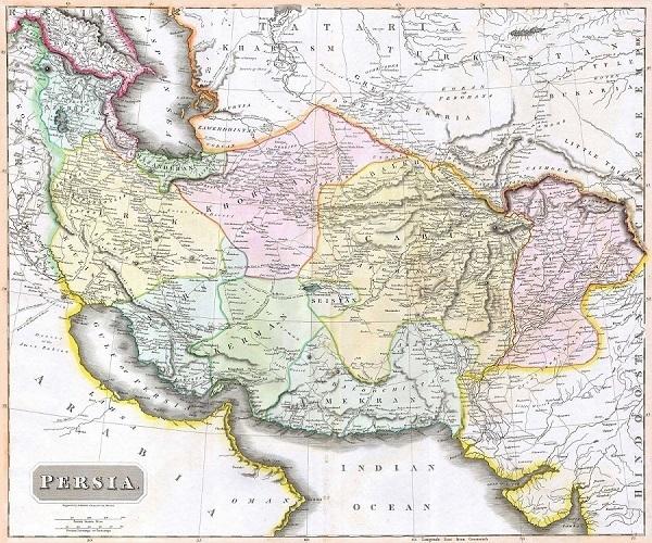 نقشه ایران در 1814 میلادی