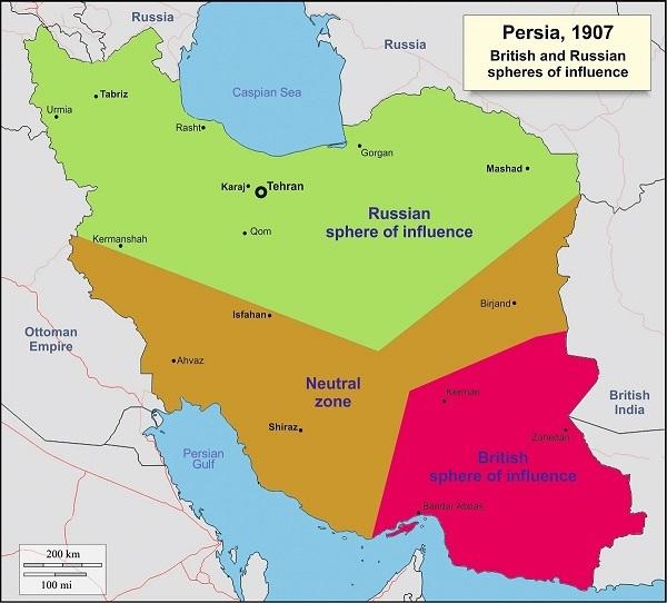 تقسیم ایران با قرارداد 1907 بین روسیه و انگلیس