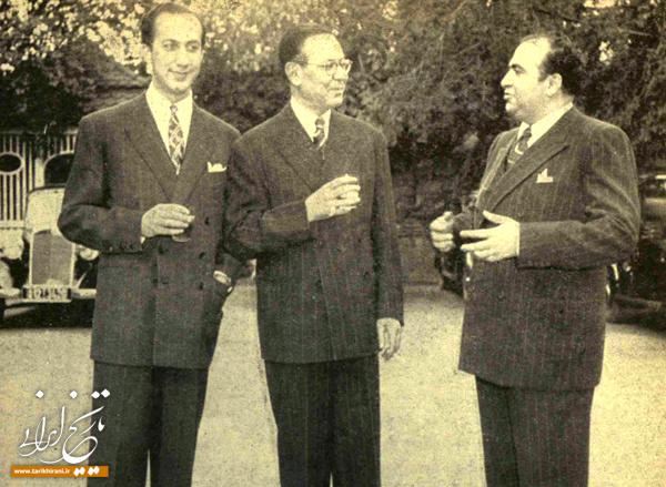 امیرعباس هویدا و عبدالله انتظام و حسنعلی منصور