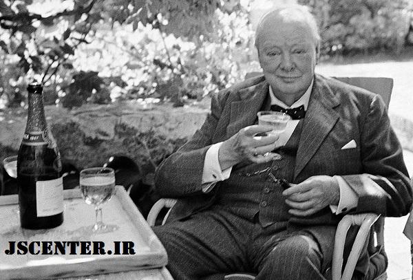 وینستون چرچیل با سیگار و شراب