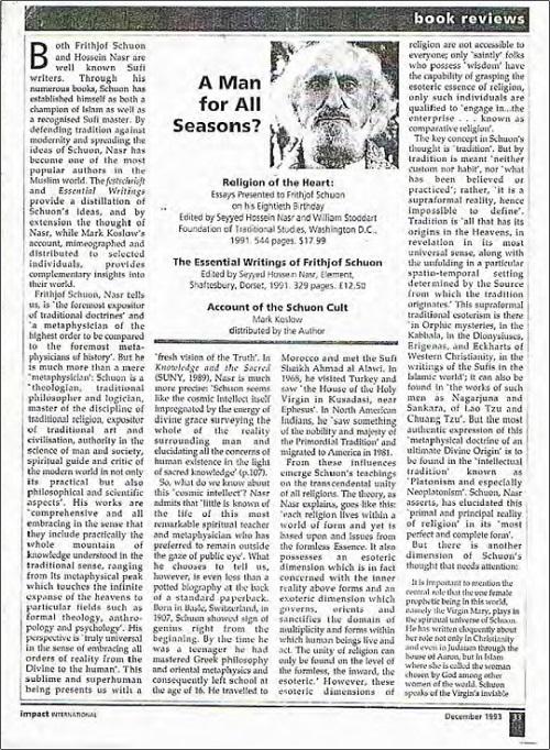 مقاله ضیاءالدین سردار درباره رسوایی فریتیوف شوان